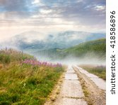 composite summer landscape with high wild grass and purple flowers in fog near the road on mountain hillside  - stock photo