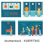info graphic of voting booths... | Shutterstock .eps vector #418597342