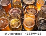 many different beer glasses... | Shutterstock . vector #418599418