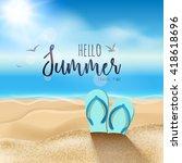 summer beach travel design. sum ... | Shutterstock .eps vector #418618696