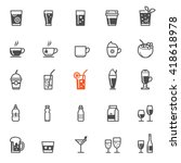 drinks and beverages icons with ... | Shutterstock .eps vector #418618978