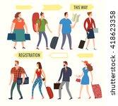 set of cartoon people in... | Shutterstock .eps vector #418623358