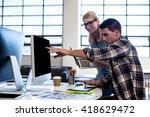 graphic designer interacting at ... | Shutterstock . vector #418629472