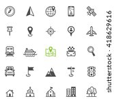 map and location icons with... | Shutterstock .eps vector #418629616