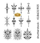 hand drawn tribal patterns with ...   Shutterstock .eps vector #418631905