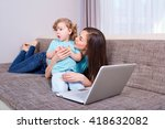 happy family woman and child... | Shutterstock . vector #418632082