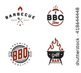 set of vintage retro bbq badges ... | Shutterstock .eps vector #418644448