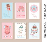 set of creative cards for kids. ... | Shutterstock .eps vector #418646662