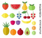 set of fruits and berries flat... | Shutterstock . vector #418648906