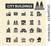 business buildings icons  | Shutterstock .eps vector #418649242