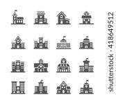 school building vector icons... | Shutterstock .eps vector #418649512