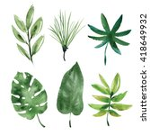 watercolor tropical leaves | Shutterstock . vector #418649932