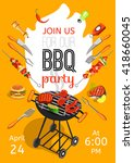 bbq season opening party...   Shutterstock .eps vector #418660045