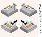 cash register. equipment for... | Shutterstock .eps vector #418667662