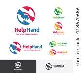 helping hand logo  hand shake... | Shutterstock .eps vector #418670686