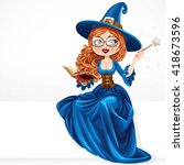 beautiful witch wearing in blue ... | Shutterstock .eps vector #418673596