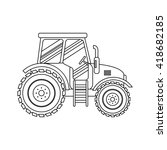 flat tractor on white... | Shutterstock .eps vector #418682185