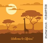 africa landscape illustration... | Shutterstock .eps vector #418689508