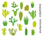 cactus collection in vector... | Shutterstock .eps vector #418690942