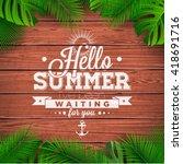 vector hello summer typographic ... | Shutterstock .eps vector #418691716