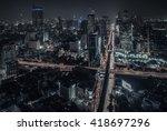 sathorn district in bangkok... | Shutterstock . vector #418697296
