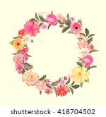 frame made from summer pink... | Shutterstock . vector #418704502