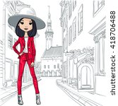 beautiful fashion girl in... | Shutterstock . vector #418706488