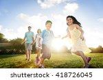 family bonding cheerful... | Shutterstock . vector #418726045