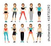 women in sportswear. sport... | Shutterstock .eps vector #418731292