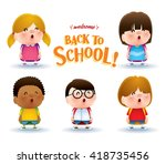 cute school kids | Shutterstock .eps vector #418735456