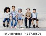 hipster kids friends playing... | Shutterstock . vector #418735606