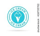 ice cream cone icon blue badge... | Shutterstock .eps vector #418735702