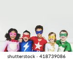 Superheroes Kids Friends Playing Togetherness - Fine Art prints