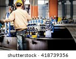 steel factory assembly line ... | Shutterstock . vector #418739356