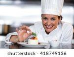 portrait of happy female chef... | Shutterstock . vector #418749136