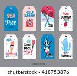 cute summer scandinavian set of ... | Shutterstock .eps vector #418753876