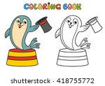 circus seal.coloring book....   Shutterstock .eps vector #418755772