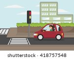 cartoon man driving eco car... | Shutterstock .eps vector #418757548