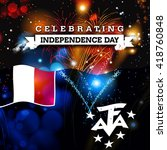 independence day fireworks and... | Shutterstock . vector #418760848