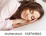 lovely woman is sleeping on... | Shutterstock . vector #418764862