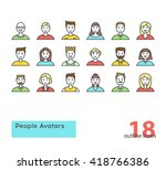 set of modern outline people... | Shutterstock .eps vector #418766386