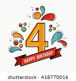 happy birthday number 4 ... | Shutterstock .eps vector #418770016