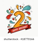 happy birthday number 2 ... | Shutterstock .eps vector #418770166