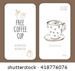 coffee voucher card. vector.... | Shutterstock .eps vector #418776076