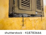 the rotted vintage window frame ...   Shutterstock . vector #418783666