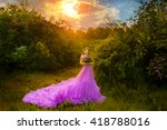 carefree woman dancing in the... | Shutterstock . vector #418788016