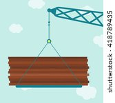 crane with plywood wood. crane...   Shutterstock .eps vector #418789435