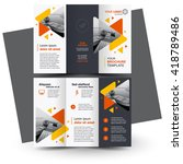 Brochure design, geometric abstract business brochure template, creative tri-fold, trend brochure triangles | Shutterstock vector #418789486