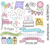 hand drawing style anniversary... | Shutterstock .eps vector #418789525
