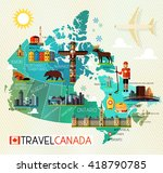 Map Of Canada And Travel Icons...